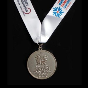 British Transplant Games 2014 sports medal - Custom made 50mm silver frosted polished sports medal with Ribbon - Medals UK