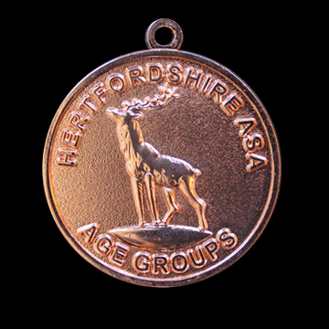 Hertfordshire ASA age groups (Amateur Swimming Association) - 38mm Gold Frosted Polished Custom Made Sports Medal