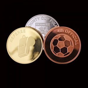"Devon County FA Commemorative Coins were produced in gold, silver and bronze by Medals UK - Rated as Excellent. Great Service in Testimonial from the client - ""Excellent. Great Service"""