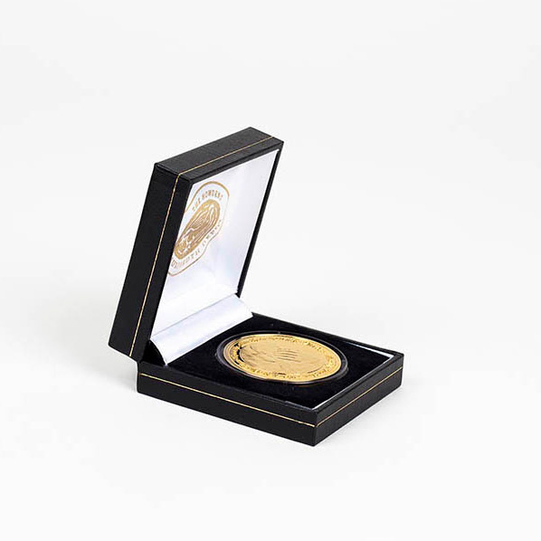 New Life Commemorative Coin - 38mm Gold Minted Anniversary Coin with a black presentation case. Rated as First Class Product from Medals UK reviewer