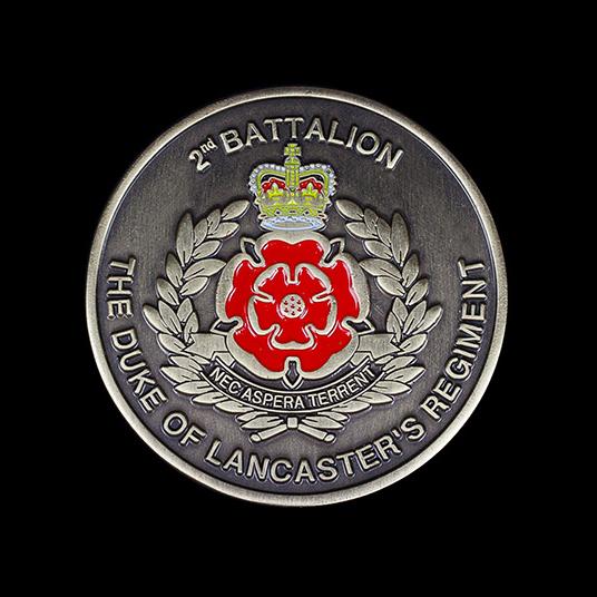 2nd Battalion The Duke of Lancs 50mm Gold Enameled Antique Crest Awards Coin