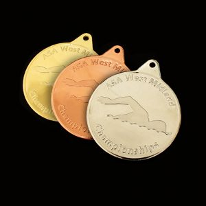 "West Midlands Championships ASA Sports Medals produced by Medals UK in gold - ""Medals UK - Highly Recommended."""