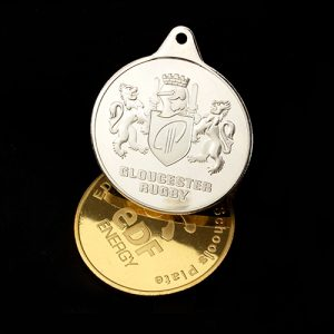 Gloucester Rugby Sports Medals produced in gold and silver for the under 14s Schools Plate and Cup