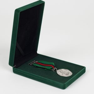 3rd Battalion The Yorkshire Regiment 32mm Silver Frosted/Polished 3 Yorks Little Soldier Military Medal on coloured ribbon in a green velvet presentation case v2