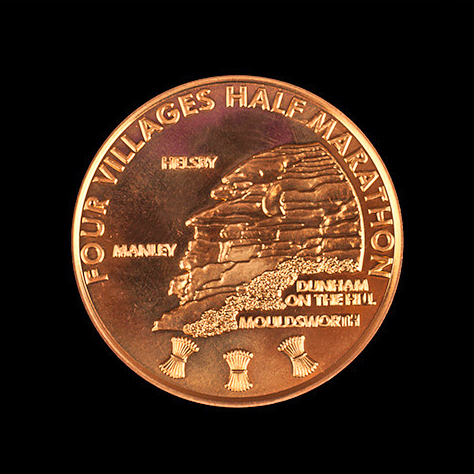 Four Villages Half Marathon Sports Medal - Helsby Running Club 38mm Gold Minted - Great Service and Products - Testimonial for Personalised Sports Medal by Medals UK