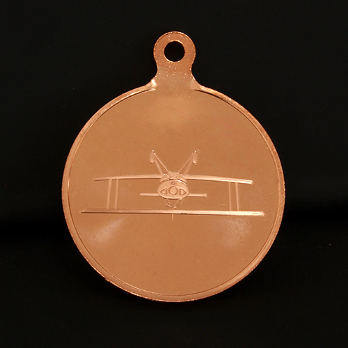 Reverse of 50mm bronze British Aerobatics Association Sports Medals produced by Medals UK
