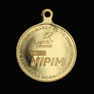 Custom Made Legal and General Cycle To Mipim Sports Medal - 50mm gold minted and bright pendant by Medals Uk