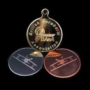 British Aerobatics Association Sports Medals in gold silver and bronze