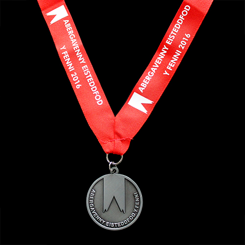 Abergavenny Eisteddfod Award Medals - 50mm Sports Pendant in Silver with Antique Smooth finish by Medals UK