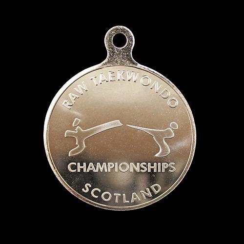 50mm-Silver-Minted-Bright-Sports-Pendant-Raw-Taekwondo-Championships-for-Raw-Taekwondo