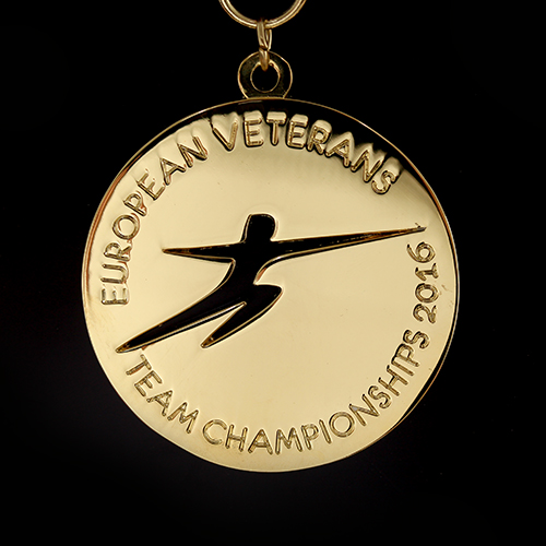 60mm Gold Polished Sports Pendant European Veterans Team Championships 2016 for British Veterans Fencing v4