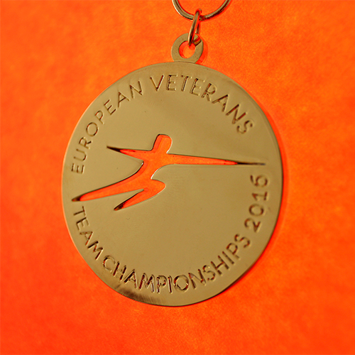60mm Gold Polished Sports Pendant European Veterans Team Championships 2016 for British Veterans Fencing v6