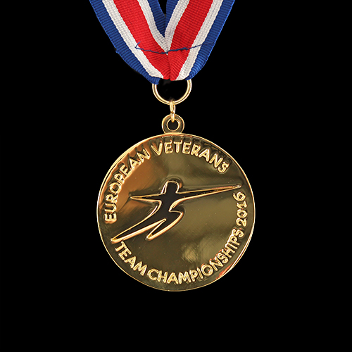 60mm Gold Polished Sports Pendant European Veterans Team Championships 2016 for British Veterans Fencing