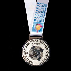 Archery World Cup 2007 sports medal - 60mm silver frosted polished sports medal with white printed ribbon - Medals UK