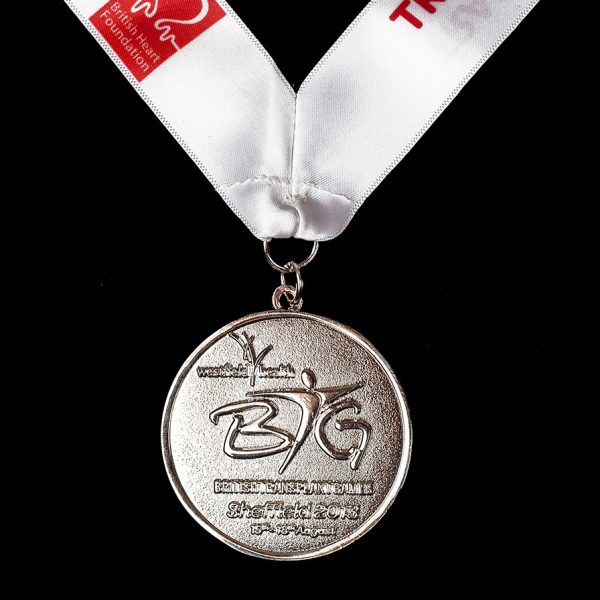 British Transplant Games 2013 sports medal - 50mm silver frosted polished sports medal with white printed ribbon - Medals UK
