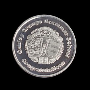 Calday Grammar School Awards Coin - 38mm silver minted Congratulations commemorative coin - Medals UK