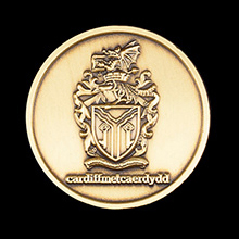 Cardiff Metropolitan University Graduation Medal - 25mm gold antique Graduation Commemorative Lapel Pin - Featured within Rewarding school life Medals UK Blog