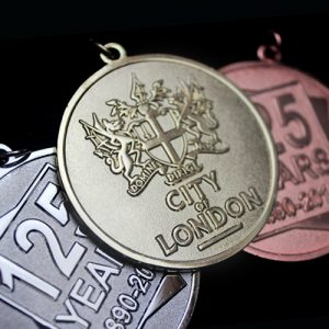 City of London Frosted Polished Sports Medal - 50mm gold