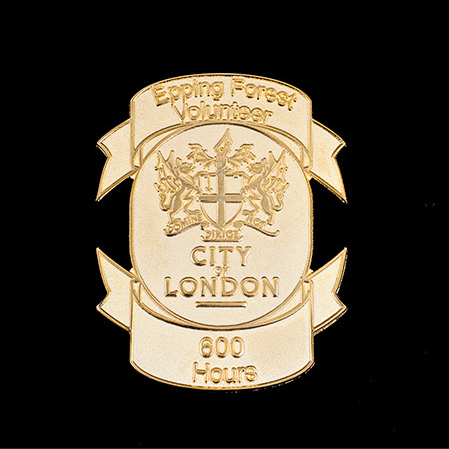 City of London Epping Forest Volunteers Badge - 50x40mm Gold Frosted Polished Lapel Pin Award 600hrs - Medals UK