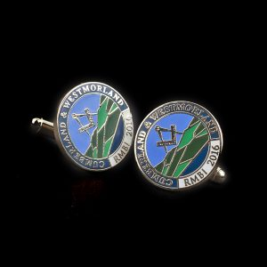 Cumberland and Westmoorland Masons Lapel Pin and cuff links - RMBI 2016 15mm Gold Enamelled Cufflinks - Medals UK