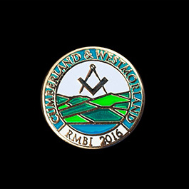 Cumberland and Westmoorland Masons Lapel Pin and cuff links RMBI 2016 15mm Gold Enamelled Cufflinks - Medals UK