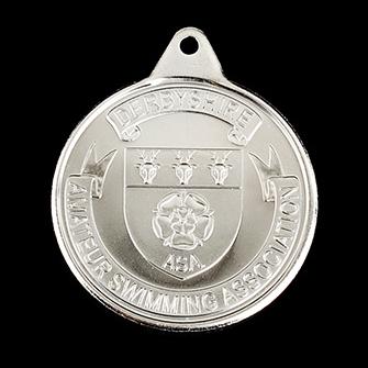 Derbyshire ASA Amateur Swimming Association sports medal - 38mm Silver Minted Derbyshire ASA Crest Sports Medal - Medals UK