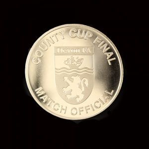 Devon County FA Commemorative Coin in silver produced by Medals UK for the County Cup Final