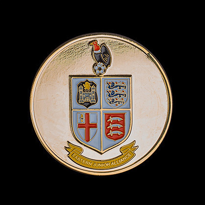 Eastern Junior Alliance FC Sports Medals - 60mm Gold Enamelled Polished Football League Sports Medal - Medals UK