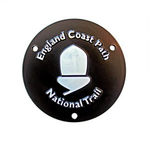 England Coastal Path medal - commemorative corporate gift medal for National Trail - 88mm Black Coated with White Print Medal - Medals UK