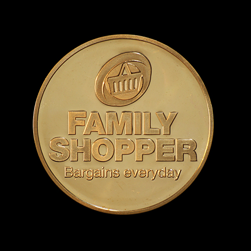 Custom Made Commemorative Family Shopper Coin was produced in gold to commemorate the 50th anniversary of the company by Medals UK