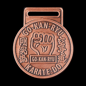 GKR Karate Club Sports Medals - 50mm bronze antique personalised sports medal
