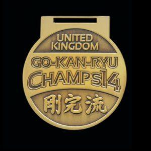 GKR National Champs 2014 65mm Gold Antique Finish Sports Medal