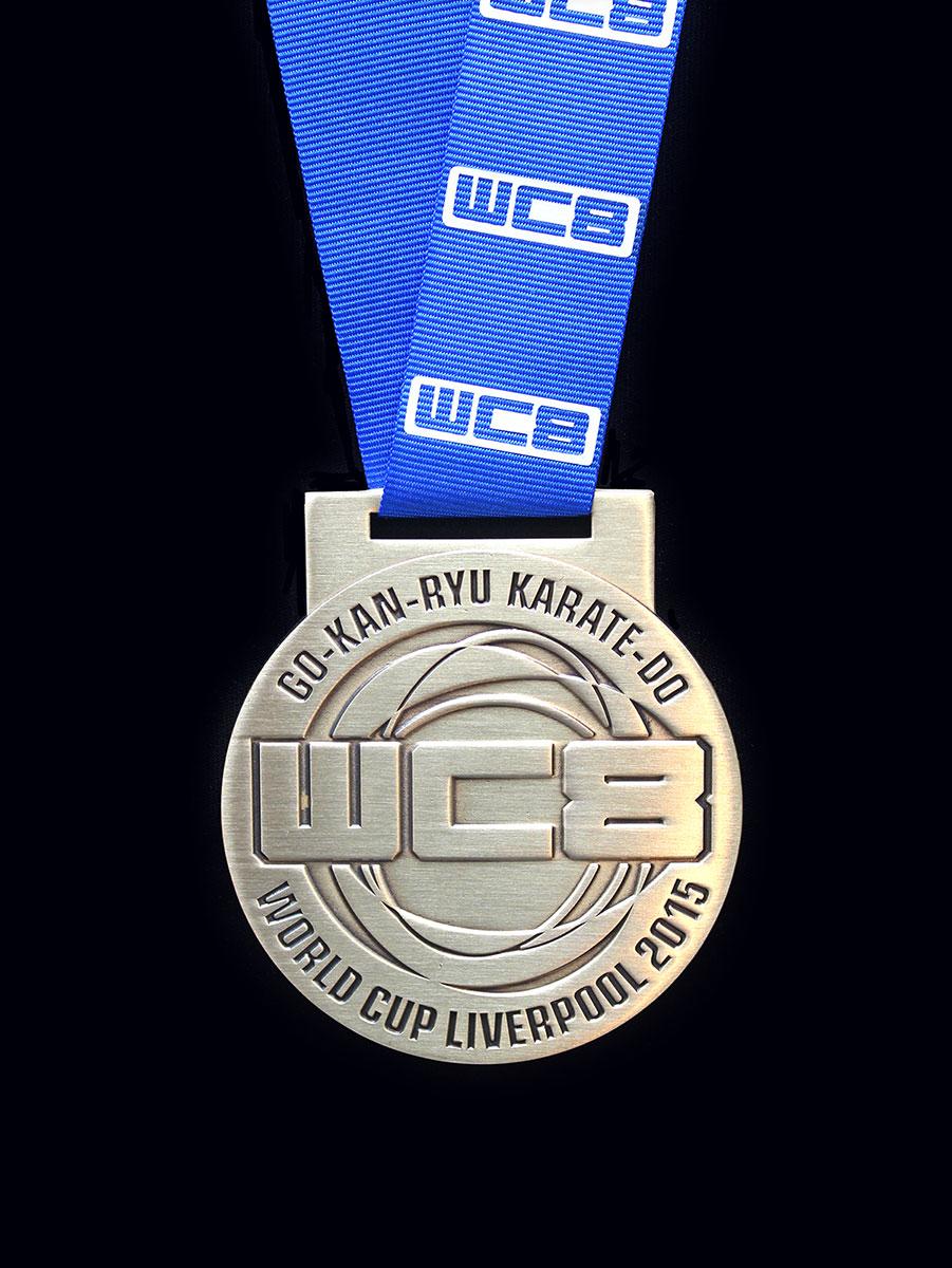 GKR WC8 2015 karate medal - 65mm Gold Antique Finished Custom Made Sports Medals - Medals UK