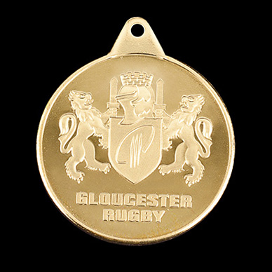Gloucester Rugby Club sports medal - EDF Energy Under 14 schools cup - 38mm Gold Minted by Medals UK