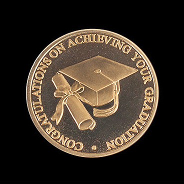 Graduation coin - custom made 38mm gold minted cap & scroll commemorative coin