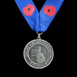 Excellent Service from Medals UK for Royal British Legion Great Gwent Poppy Run Finisher commemorative medals - 50mm Gold Antique Finish Sports Medal with Printed Ribbon - Medals UK