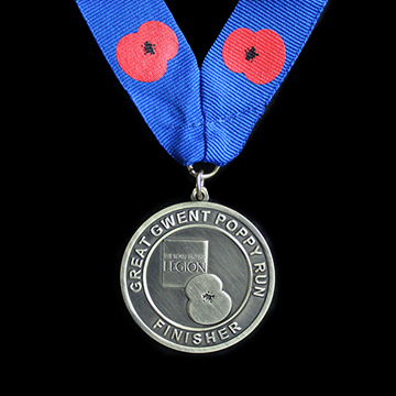 Royal British Legion Great Gwent Poppy Run Finisher commemorative medals - 50mm Gold Antique Finish Sports Medal with Printed Ribbon - Medals UK