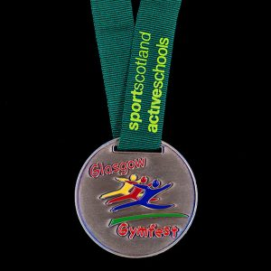 Glasgow Gymfest - Custom Made Sports Scotland Active Schools Gymnastics medals - 50mm Antique Enamel Gold Medal with green ribbon and yellow print - Medals UK
