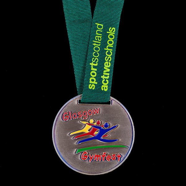 Glasgow Gymfest sports medal ‰ЫТ Custom made Scottish gymnastics 60mm gold antique finished medal with printed green ribbon