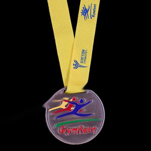 Scottish Gymnastics 50mm Antique Enamel Gold Gymfest Sports Medal with yellow ribbon and blue print