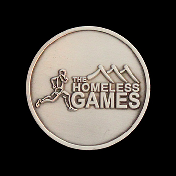 Homeless Games Commemorative Coin - 38mm antique finish personalised coin - by Medals UK