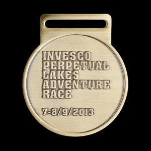 Invesco Perpetual Lakes Adventure Race 2012 50mm Gold Frosted/Polished Sports Medal