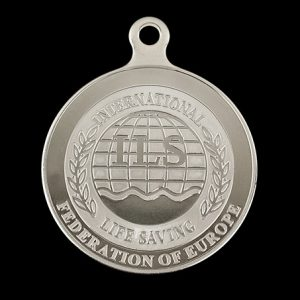 International Life Saving European Federation swimming medal - 50mm silver minted with ILS Crest custom made sports medal
