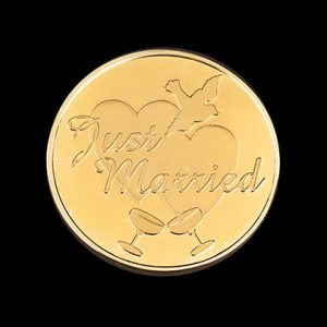 Just Married Commemorative coin - 38mm Gold Minted - by Medals UK