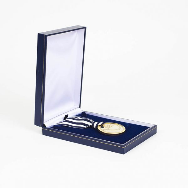 LTA British Junior National Championships Sports Medals - 50mm gold minted Ariel British Juniors National Championships bespoke Sports Medal with blue white ribbon in a blue presentation case