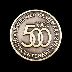 Lewes Old Grammar School Lapel Pin - 500th anniversary commemorative pin - 25mm antique gold - by Medals UK