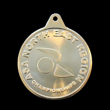 ASA North East Region Sports Medal - 38mm gold ASA North East Championships sports medal - Medals UK