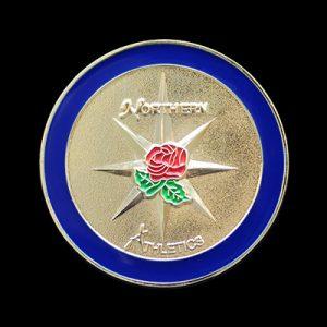 Northern Athletics Sports Medals - 50mm gold enamelled frosted polished bespoke sports medal