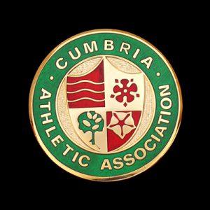 Cumbria Athletics Association bespoke sports medal - 50mm gold enamelled CAA Crest sports medal - by Medals UK
