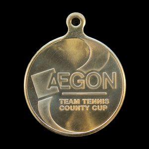 LTA AEGON Team Tennis Sports Medal - 50mm gold minted bespoke Sports Medal